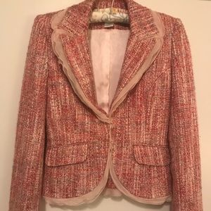 Guess Collection Pink Tweed Blazer with lace trim